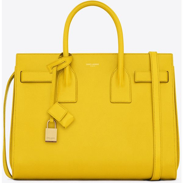 Saint Laurent Classic Small Sac De Jour Bag In Yellow Leather featuring polyvore, fashion, bags, handbags, purses, yellow, yves saint laurent purses, yellow handbag, shoulder strap purses, leather strap purse and leather handbags