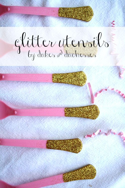 glitter utensils - cheap and cute party decor