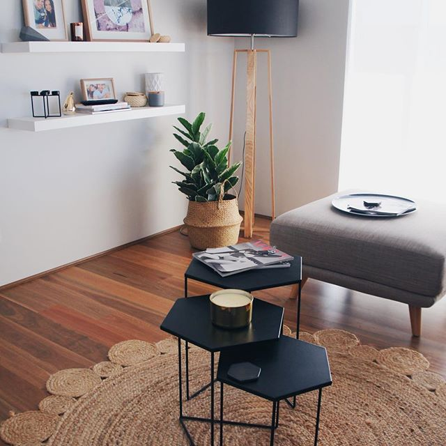 Coffee Table Styling / Ottoman Style / Living Room Inspo / Jute Rug / Spotted Gum Timber