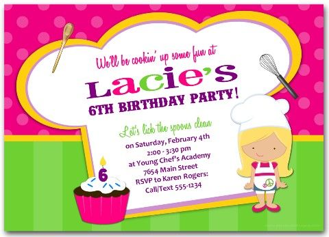 7 best Cooking Baking Party images – Kids Cooking Party Invitations
