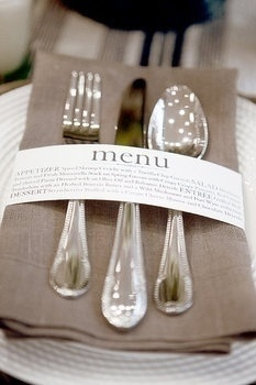 Wedding menu card... creative and fun.