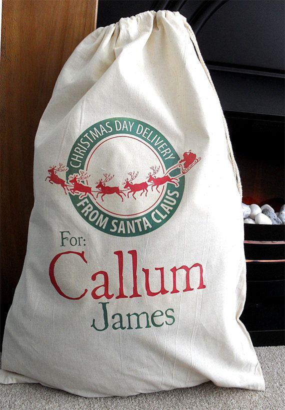 Festive green & red Personalised Santa sack / personalised Christmas sack on Etsy, $26.56