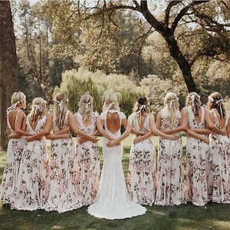 Cute All Girl Wedding Inspiration Photo Wedding Bridesmaid Dress Gown Backless White Traditional Alternative Wedding Dress Bridesmaid White Floral Patterned Backless Dress