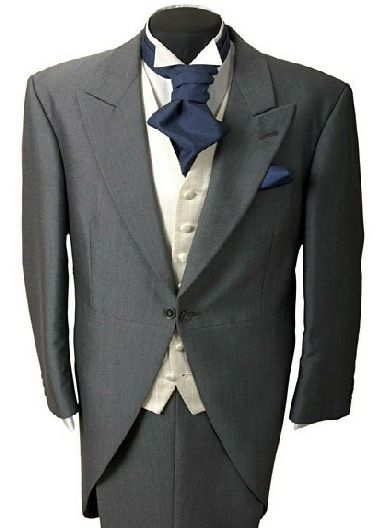 Men's grey wedding suit with navy cravat - NOT WITH TAIL COAT