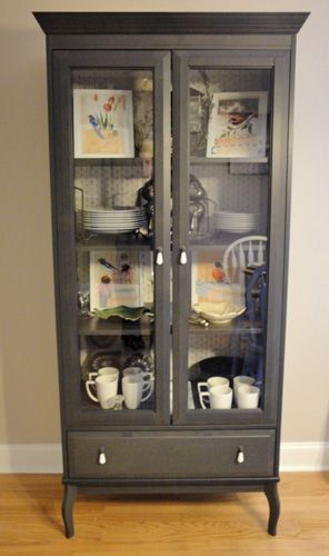 Ikea linen cabinet turned dining room storage