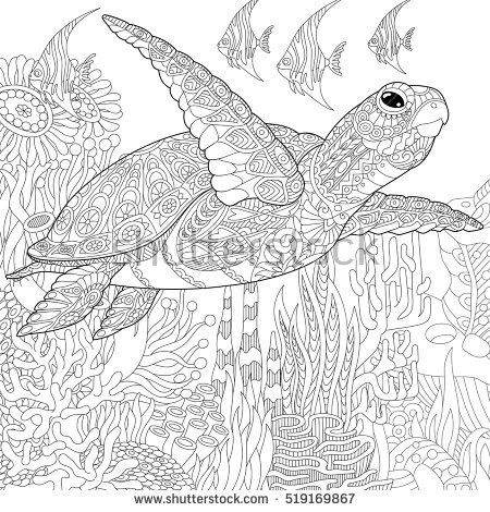 Stylized Cartoon Underwater Composition Of Turtle Tortoise And Tropical Fish Freehand Sketch For Coloring Book PagesColoring