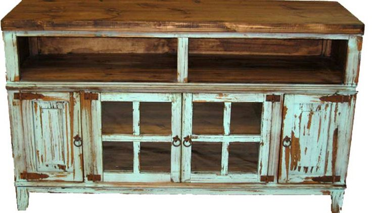 Antique TV Stand, Antique Turquoise TV Stand