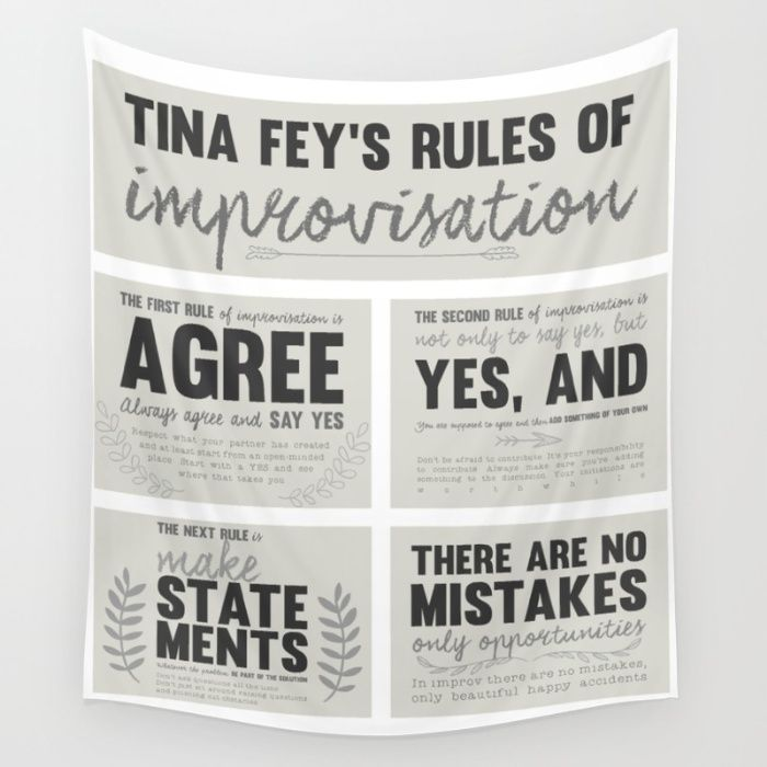 Tina Fey, Improvisation, improv, theater, theatre, comedy, bossypants tapestry