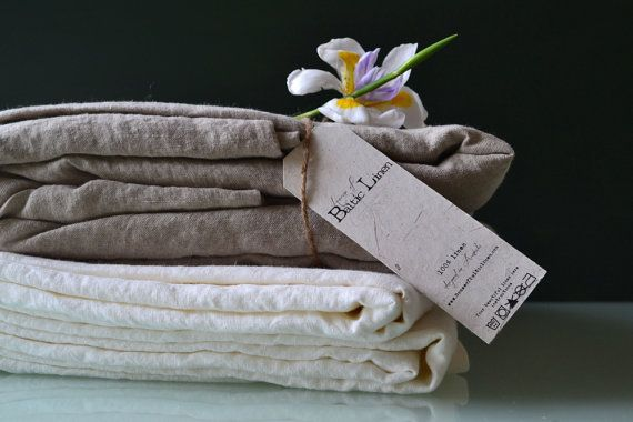 Luxurious natural softened linen top sheet, Natural colour, King size