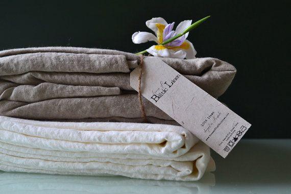 Luxurious natural softened linen top sheet, Natural colour, Queen size. Pure linen bedding