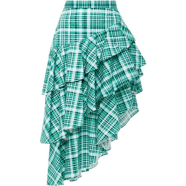 Amur Pippie Plaid Asymmetrical Skirt ($350) ❤ liked on Polyvore featuring skirts, green, green tartan skirt, blue tiered skirt, layered skirt, high low skirt and hi low skirt