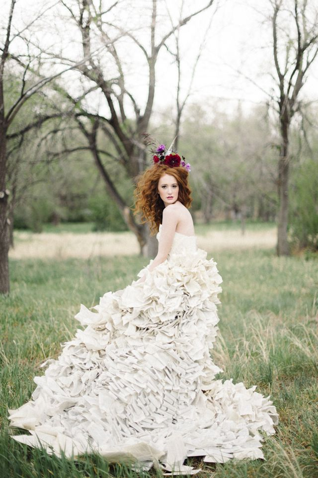 Literary wedding with a book page wedding dress book for Sunflower dresses for wedding