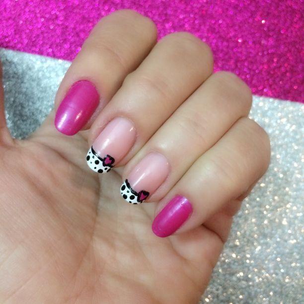Nail art valentine's day nails sevgililer günü tırnakları kolay easy pink kalpli hearts