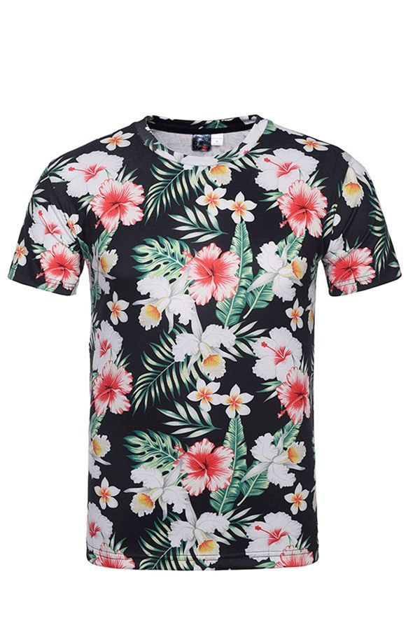8c4e68e099a7 Tidebuy Summer Floral Print Men's Short Sleeve T-Shirt   All For Men ...