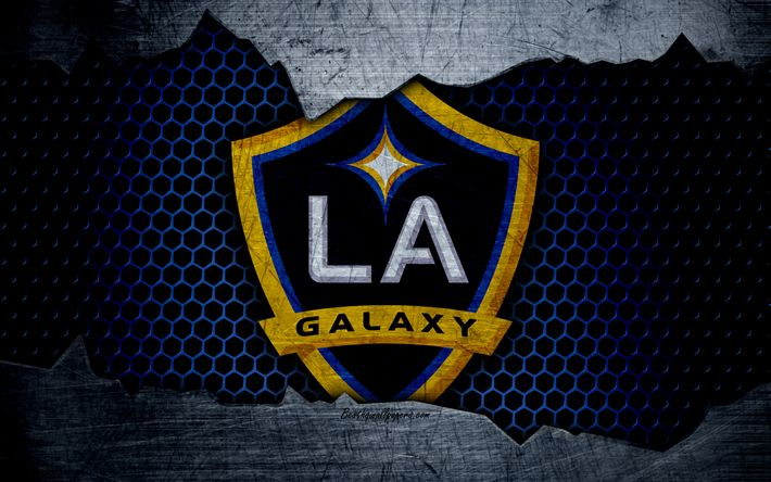 Herunterladen hintergrundbild los angeles galaxy, 4k, logo, mls, fußball, western conference, football club, usa, la galaxy, grunge metall textur, los angeles galaxy fc