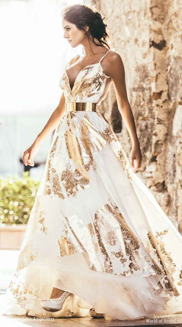 Best 25 gold wedding dresses ideas on pinterest gold for White and gold wedding dresses