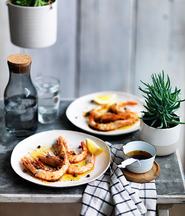 Mat Lindsay recipe for barbecued prawns with brown butter and tamari from Ester…