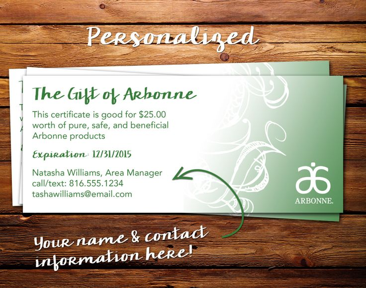 Arbonne gift certificate personalized 3x7 by