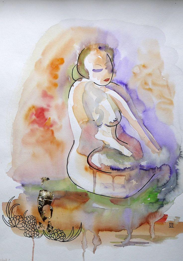 "art contemporain original, peinture moderne, aquarelle nu ""Soledad"" : Peintures par cyane-art-contemporain"