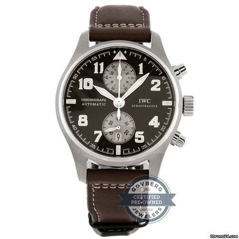 IWC Pilot Spitfire Chronograph ad: 45,081kr IWC Pilots Chronograph Antoine De Saint Exupery IW3878-06 Ref. No. IW3878-06; Steel; Automatic; Condition 1 (mint); With box; With papers; Location: Unit