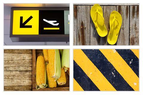 Schiet tijdens de vakantie eens allerlei items in één kleur. Daar maak je leuke collages mee in je fotoboek! #fotografietip #geel
