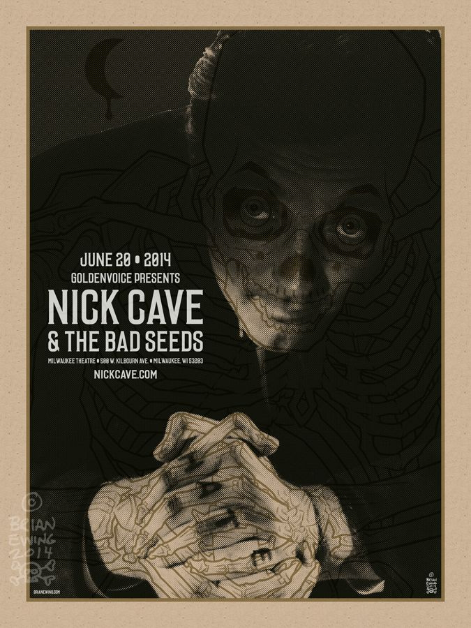 #gigposter for Nick Cave and the Bad Seeds, design by Brian Ewing.
