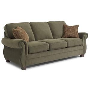 Reuben Sofa Sleeper With 2 Accent Pillows And Rolled Arms By Flexsteel