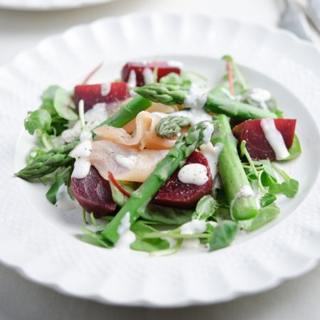 A British asparagus, beetroot and smoked salmon salad, a light and fresh autumn meal. Great served with horseradish. | Best autumn salad recipes | Healthy autumn recipes | Visit http://www.redonline.co.uk for this salad recipe and more.
