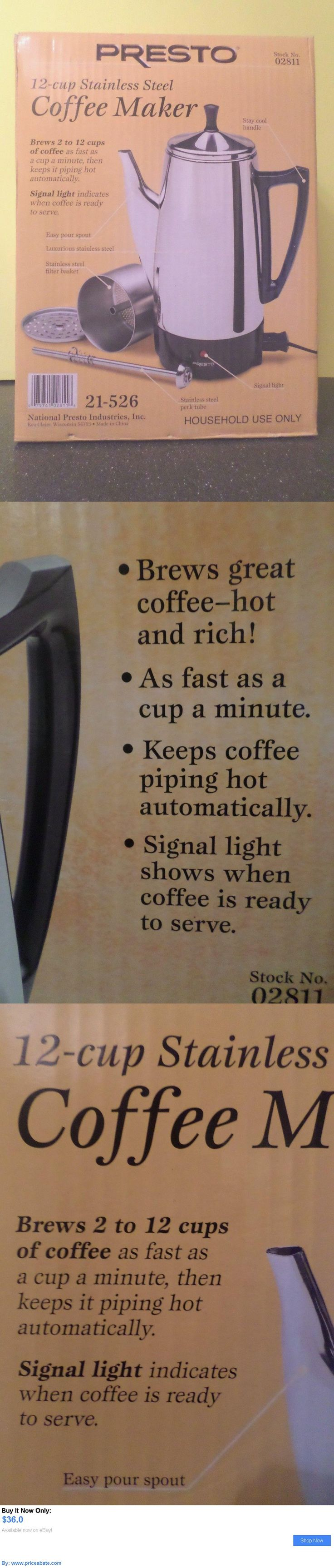 Small Kitchen Appliances: Presto 12 Cup Stainless Steel Traditional Coffee Maker Percolator Electric Nib BUY IT NOW ONLY: $36.0 #priceabateSmallKitchenAppliances OR #priceabate