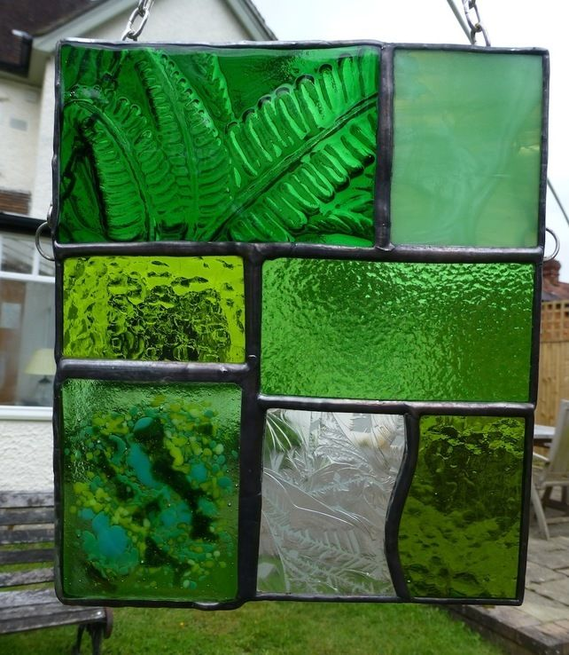 Stained and fused Glass Green Fern Woodland Glade Panel £31.75
