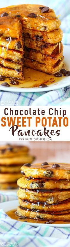 Chocolate Chip Sweet Potato Pancakes are one of the weekend breakfast recipes you will immediately fall in love with. Light, fluffy and filled with chocolate. Step by step how to make sweet potato pancakes. #sweetpotato #pancakes #chocolatechip #breakfast via @happyfoodstube