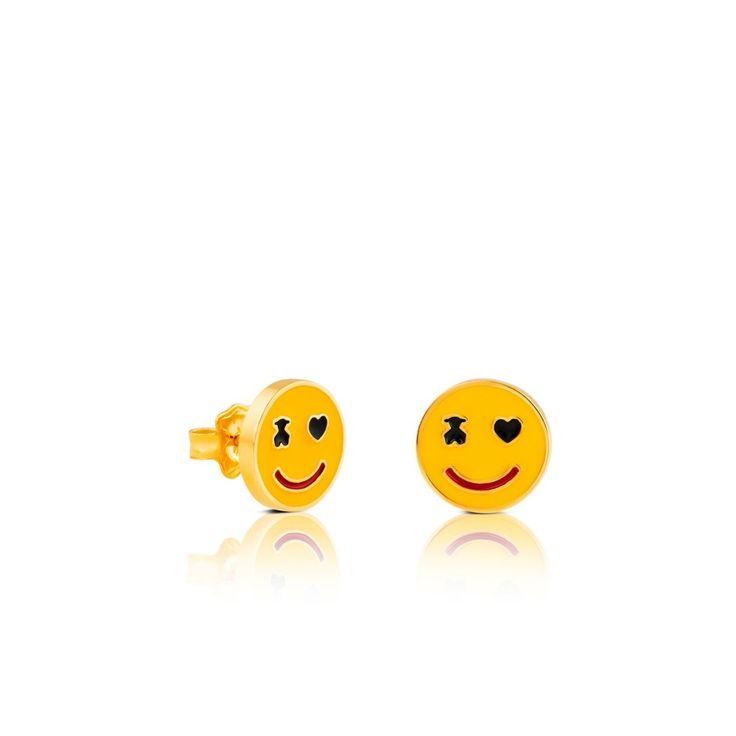 Kolczyki Tous Smile ze złota vermeil i szkliwa