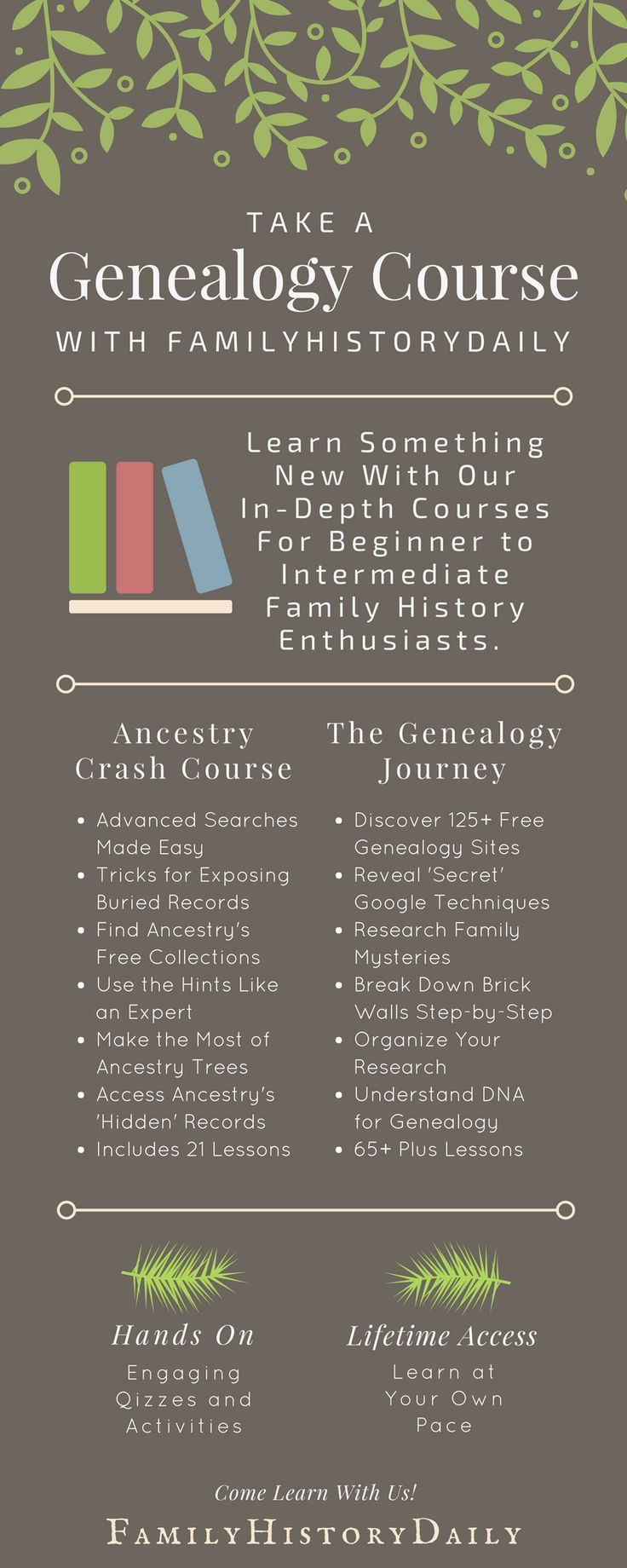 Ready to take your genealogy research to the next level? Want to learn more about genealogy organization? Or how about ancestry DNA tests? An exciting genealogy course is the place to start learning something new about family history research today! #genealogyresearch #familytree