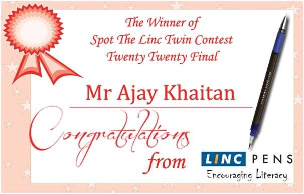 The Winner for Sunday's Spot the Linc Twin Contest is Mr Ajay Khaitan  Please send us your Residential Address along with your phone number. Our representative will be calling you shortly.  Keep visiting our page we will be announcing spot the #LincTwin contest very soon. #EncouragingLiteracy