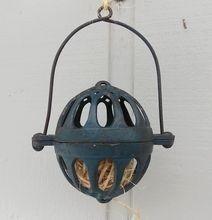 Blue Patina Antique Victorian Primitive Cast Iron Hanging String Holder