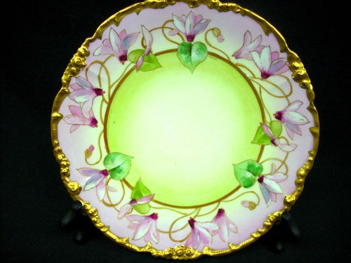 Charger Plate Black Hand Painted Pink Flowers