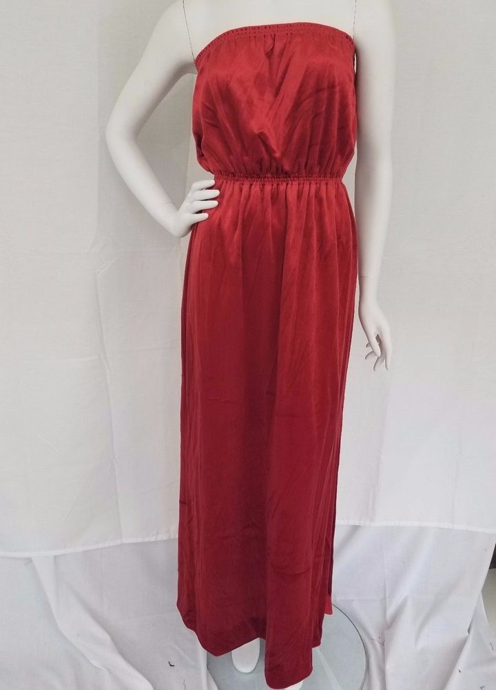 Vtg 70s JOAN LESLIE by KASPER Rust Red Velvet Strapless Full Length Dress DISCO! #JoanLesliebyKasper #Blouson