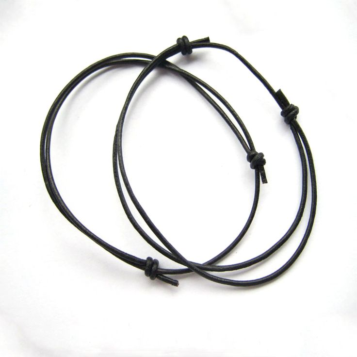 2pcs Simple Style Black Leather Cord Lucky Bracelet Anklet Adjustable For Men Women Bracelets Jewelry