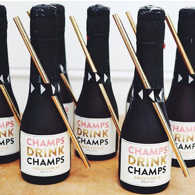 """Planning a birthday celebration? Event planner @chanelvanreenen knocked it out of the park with her mini """"Champs Drink Champs"""" champagne favors for a  30th Birthday party tonight! Stop by the shop & pickup some for your besties birthday!"""