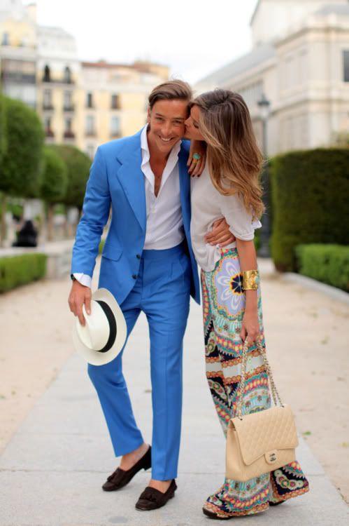 stylish stylish couples blue suits