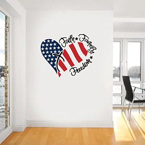 Faith Family Freedom American Flag and Cross Vinyl Wall Words Decal Sticker Graphic