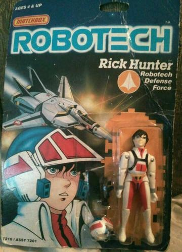 Robotech Rick Hunter 3 75 inch Action Figure Matchbox Complete Vintage 1985 | eBay    Robotech was most American kids' of the 1980s introduction to Japanese anime. It was the first cartoon on American television to show interracial romances and depict the horrors of war. The toys weren't very good. Compared to GI Joe: A Real American Hero, Robotech sucked. The points of articulation were limited. The hands were oversized. The heads moved along one axis. The metal pins were huge.