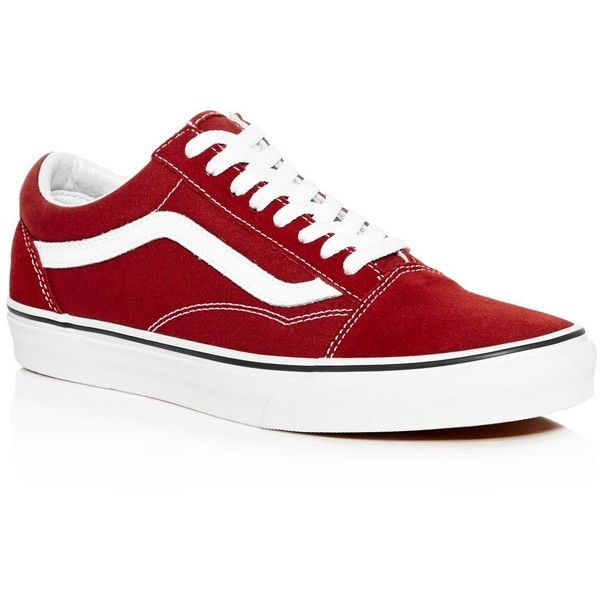 Vans Old Skool Lace Up Sneakers (£46) ❤ liked on Polyvore featuring men's fashion, men's shoes, men's sneakers, shoes, madder brown, vans mens shoes, mens lace up shoes, mens brown leather sneakers and mens brown shoes