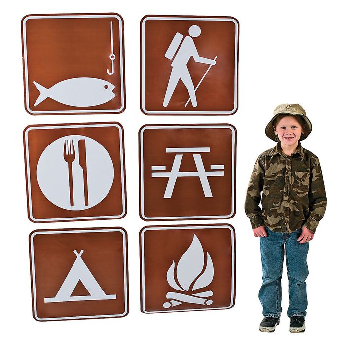 Camp Sign Cutouts - OrientalTrading.com $6.25 - use for decoration