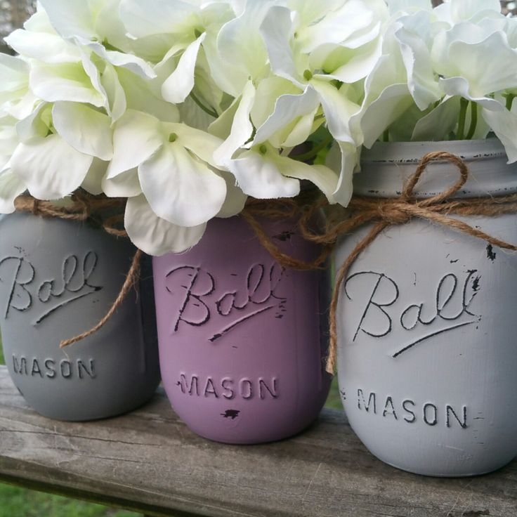 Excited to offer a new set of lavendar and gray mason jars! Pair these with our matching lavendar and gray letters to add a shabby chic and floral element to your nursery.