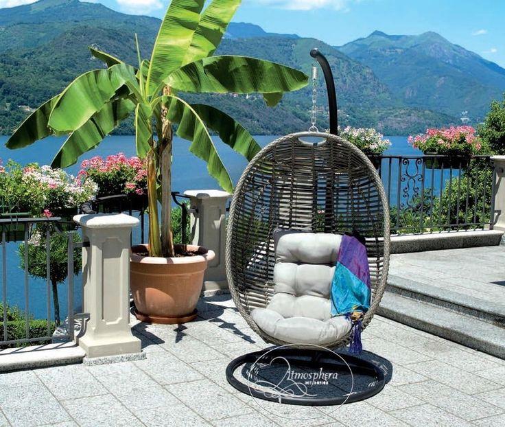Poltrona sospesa dondolo relax da giardino uovo rattan sintetico con cuscino atmosphera art - Poltrona sospesa da giardino ...