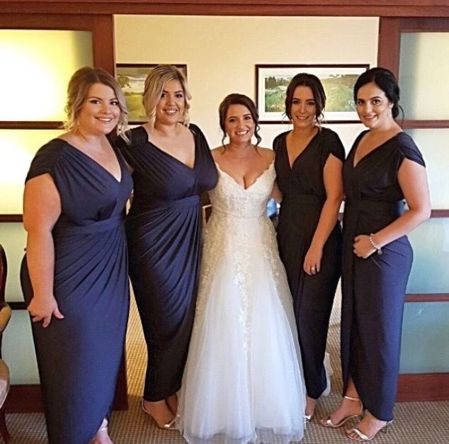 Beautiful Bridal Party. Bridesmaids wearing our Carla dress by Pia Gladys Perey. Classy and stunning.