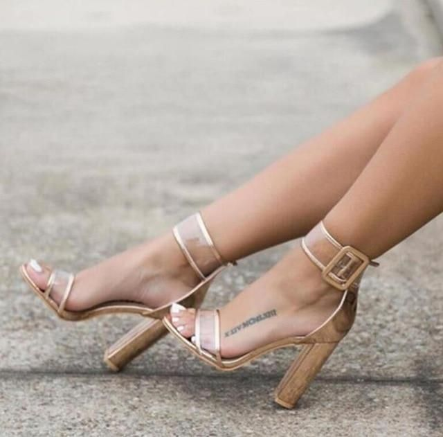 Fashion Ankle Strap Women Casual Sandals Open Toe Summer High Heel Shoes Buckle Ladies Office Work Sandalias Shoes – Beige 4.5