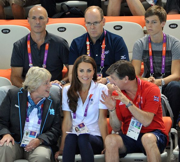 8/9/2012: Day 13 - Women's Team Synchronized Swimming, with Prince Albert II of Monaco  Robin Cousins (Newham, London)