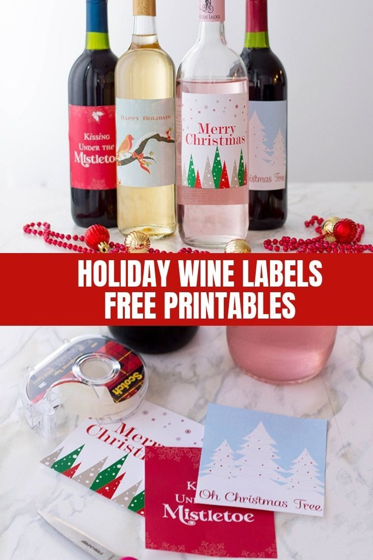 Holiday Wine Labels Free Printables Holiday Wine Label Holiday Wine Christmas Wine Bottle Labels